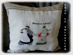 toile de lin, mamgoudig,coussin